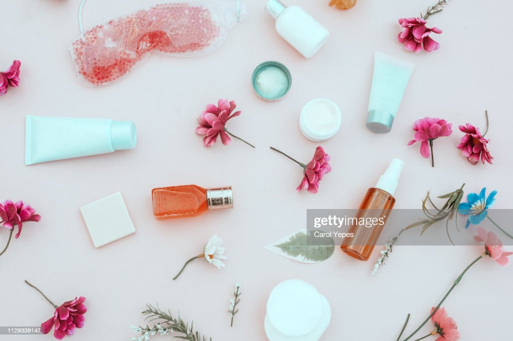 spring composition of cosmetic and  beauty cream products,Top view : ストックフォト