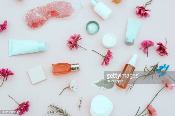 spring composition of cosmetic and  beauty cream products,top view - make up stockfoto's en -beelden