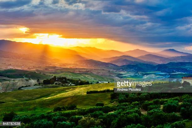 spring countryside in basilicata, italy - matera italy stock pictures, royalty-free photos & images