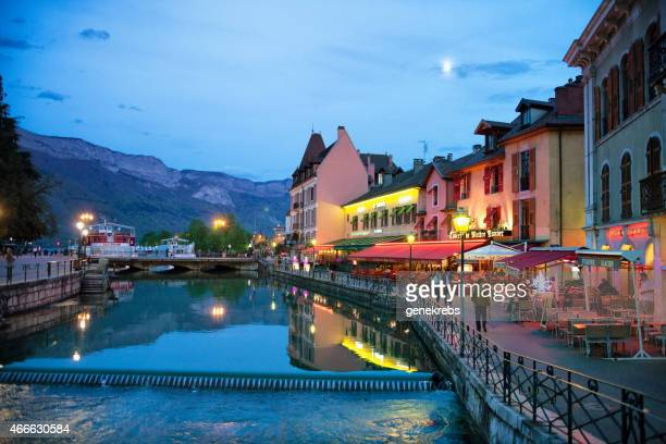 Printemps soir, Canal, Restaurants, Rhône-Alpes, Annecy, France