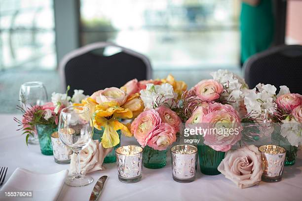 Spring flower centerpiece on dining table