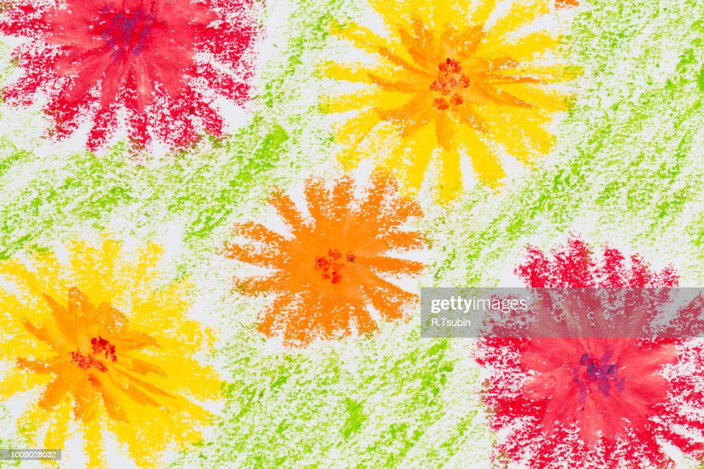 spring flowers crayon hand drawing texture for background ストック