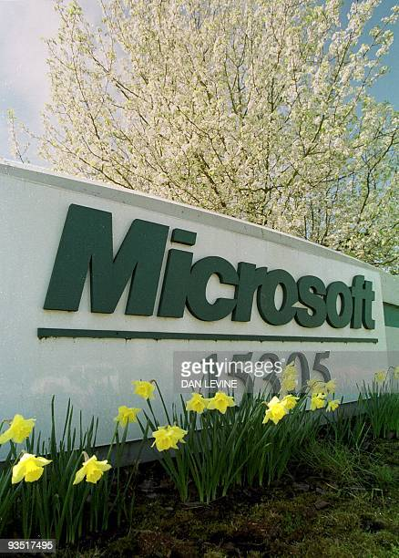 Spring flowers grow at the entrance to one of the building on the Microsoft campus in Redmond, Washington, prior to the Justice Department's...