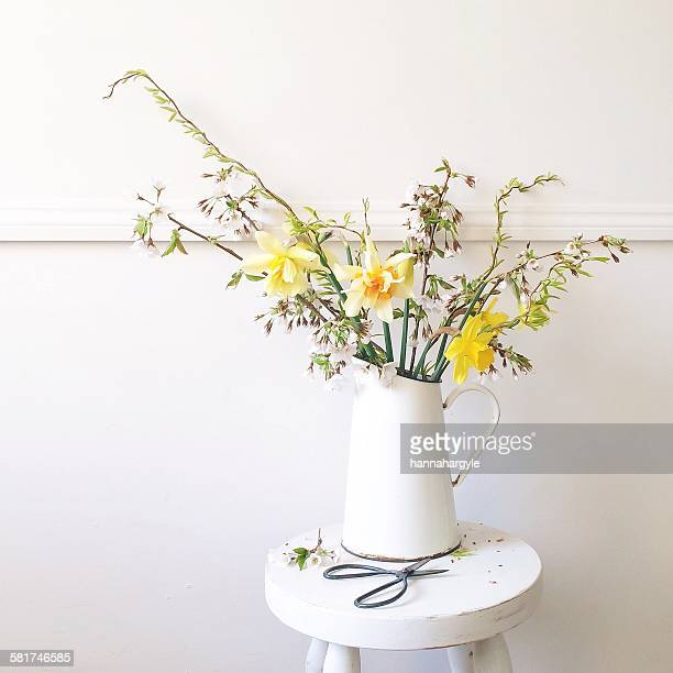 spring flowers in a jug with scissors, daffodil, twisted willow and blossom