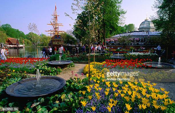 Spring flowers in bloom in Tivoli Gardens, Copenhagen, Denmark, Europe