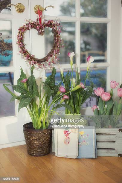 Spring Flowers with French Doors
