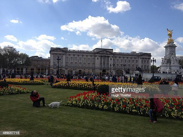 Spring gardens at Buckingham Palace, London, UK