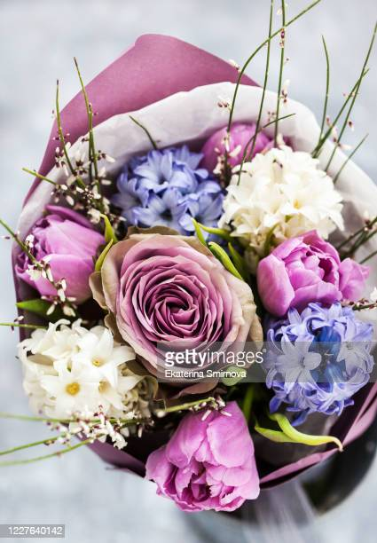 spring gentle bouquet of hyacinths, roses and tulips - hyacinth stock pictures, royalty-free photos & images