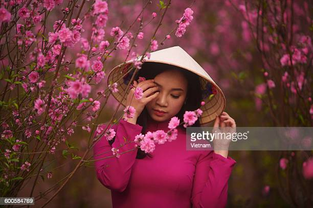 spring girl lookdown - peach blossom stock pictures, royalty-free photos & images