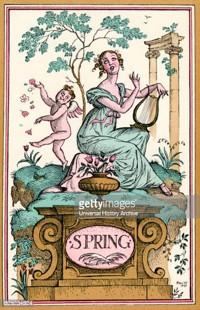 Spring Illustration by Reginald John Rex Whistler From The New ForgetMeNot A Calendar published 1929