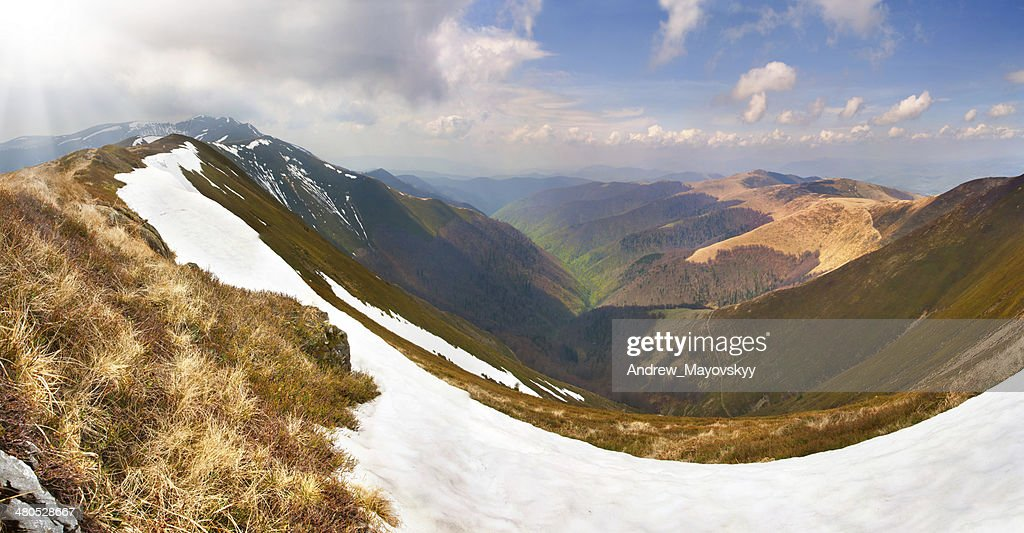 Spring landscape in the mountains : Stock Photo