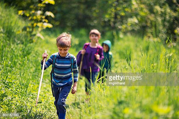 Spring little hikers walking among fresh green  nature