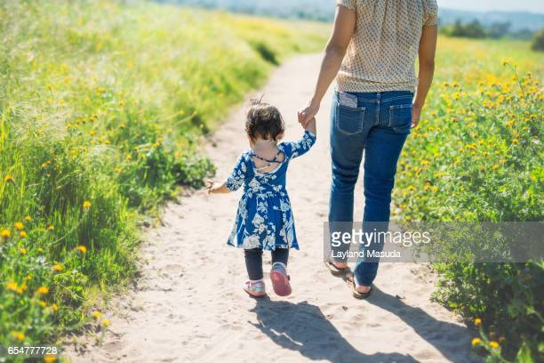 Spring Meadow Walk - Mom Daughter