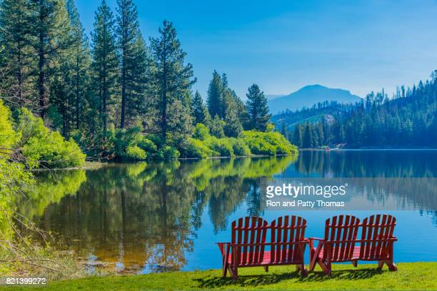 spring morning at hume lake near kings canyon national park, ca - central california stock pictures, royalty-free photos & images
