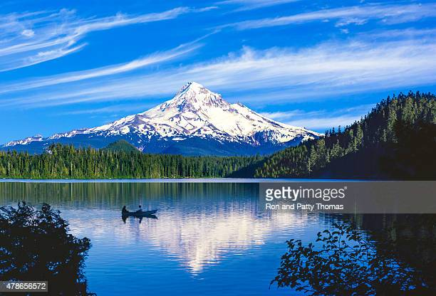 spring morning with the reflection of  mt. hood, or - snowcapped mountain stock pictures, royalty-free photos & images