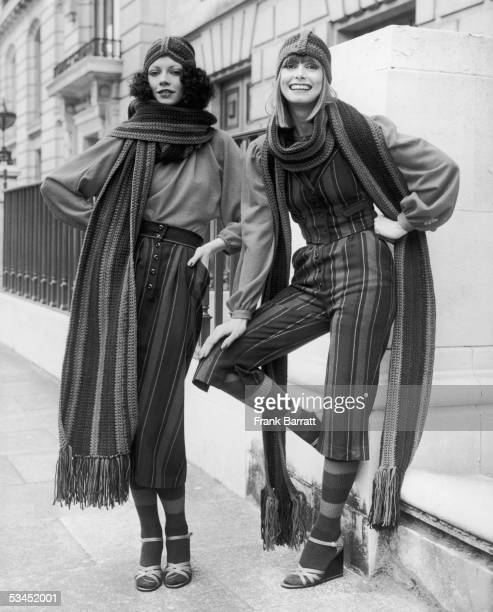 Spring outfits from British designer Mary Quant 22nd May 1975 Left 'Skindles' consisting of a red crepe jersey batwing blouse and multicoloured...