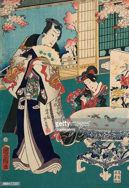 Spring Outing in a Villa Diptych with a richly dressed man in an elaborate interior by Toyohara Kunichika ukiyoe woodblock print 1862 Also known as...