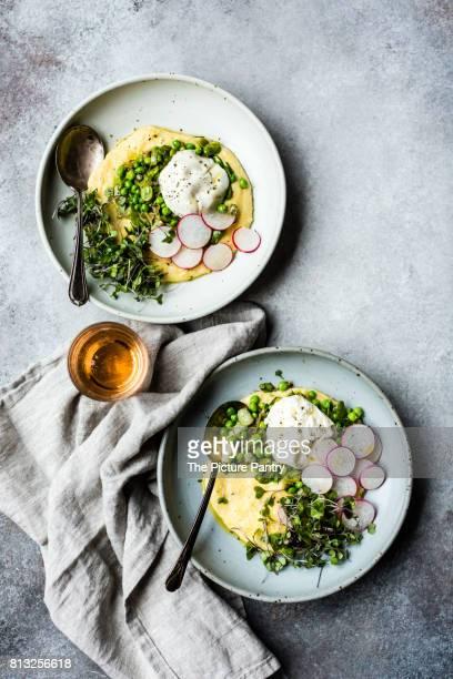 Spring polenta burrata bowls