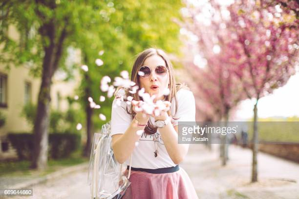 spring portrait of a beautiful woman - pink flowers stock pictures, royalty-free photos & images
