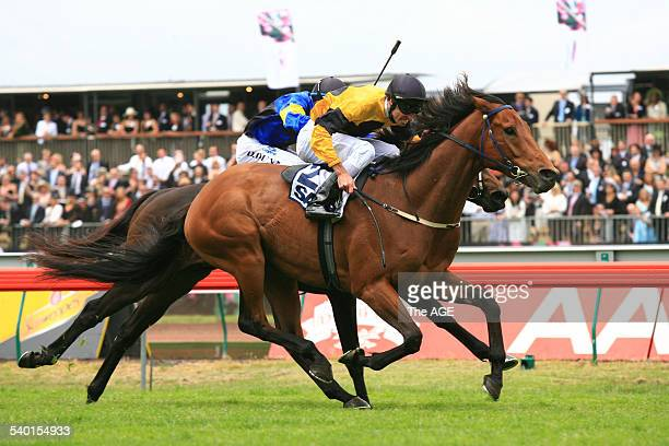 Spring Racing Carnival 2006 Jockey Steven Arnold rides Maybe Better to victory in the SAAB Quality race at Flemington Racecourse Melbourne 4 November...