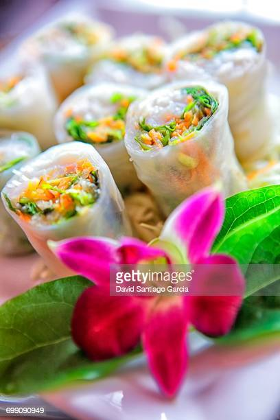 Spring rolls; Koh Tao island; Surat Thani Province; Gulf thailand; South China Sea