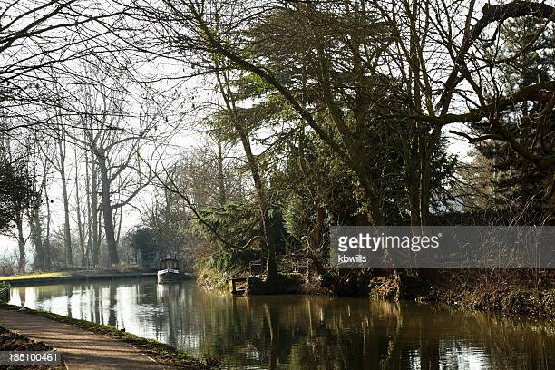 spring sunny canal boat holiday on river stort essex england