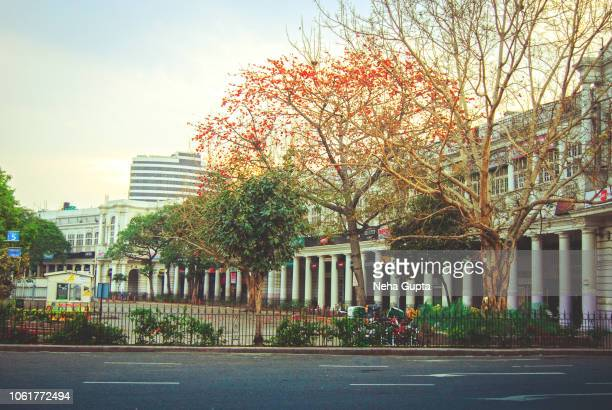 spring sunrise at connaught place - new delhi, india - delhi stock pictures, royalty-free photos & images