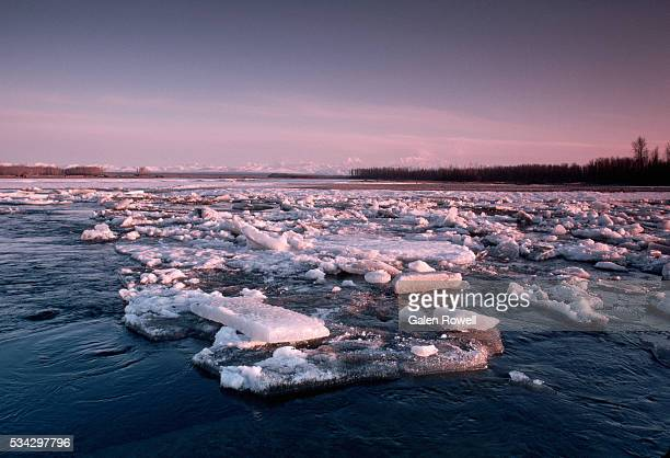 spring thaw on the susitna river - mt. susitna stock pictures, royalty-free photos & images