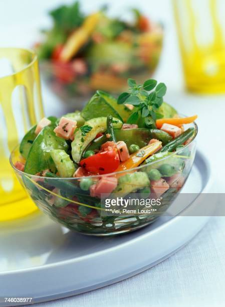 Spring vegetables with diced ham