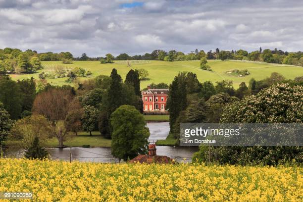 spring view over fawley court, henley - jim donahue stock pictures, royalty-free photos & images