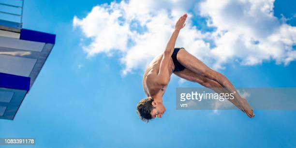 springboard diver in mid-air - pike position stock photos and pictures