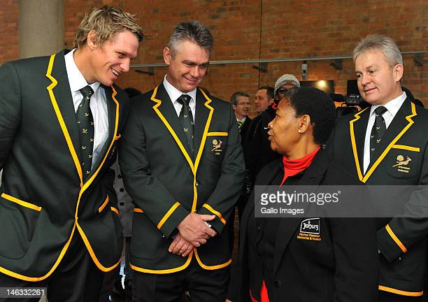 Springbok captain Jean de Villiers and Coach Heyneke Meyer with Antoinette Sithole and Ian Schwartz during a wreathlaying ceremony at the Hector...