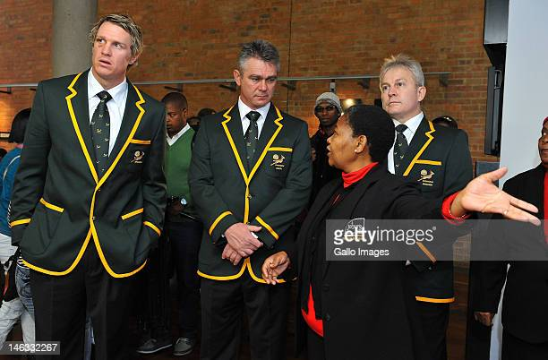 Springbok captain Jean de Villiers and Coach Heyneke Meyer with Ina Schwartz and Antoinette Sithole during a wreathlaying ceremony at the Hector...