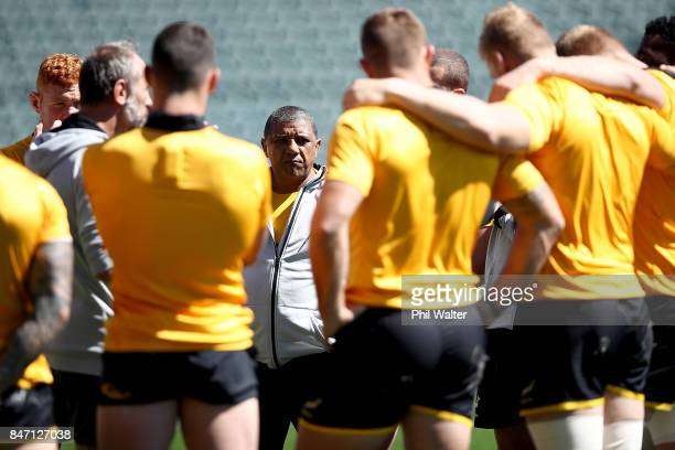 Springbok coach Allister Coetzee during a team talk during the South Africa Springboks Captain's Run at QBE Stadium on September 15 2017 in Auckland...