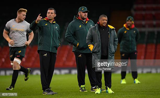 Springbok coach Allister Coetzee looks on with his coaches during South Africa training ahead of their match against Wales at Principality Stadium on...