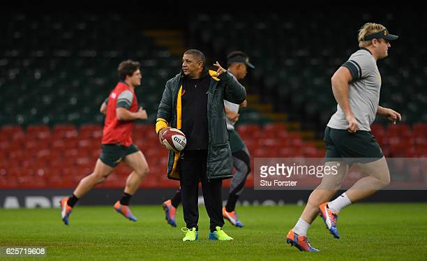 Springbok coach Allister Coetzee reacts during South Africa training ahead of their match against Wales at Principality Stadium on November 25 2016...