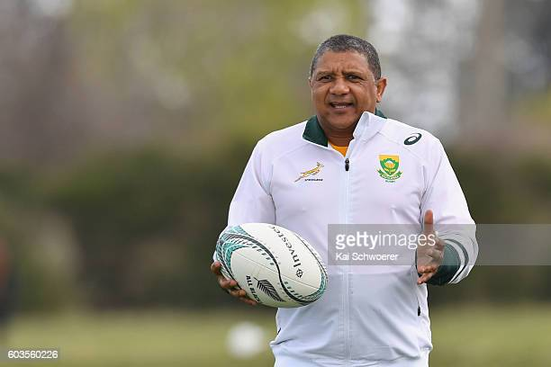 Springbok Head Coach Allister Coetzee reacting during a South Africa Springboks training session at Clearwater Resort Fields on September 13 2016 in...