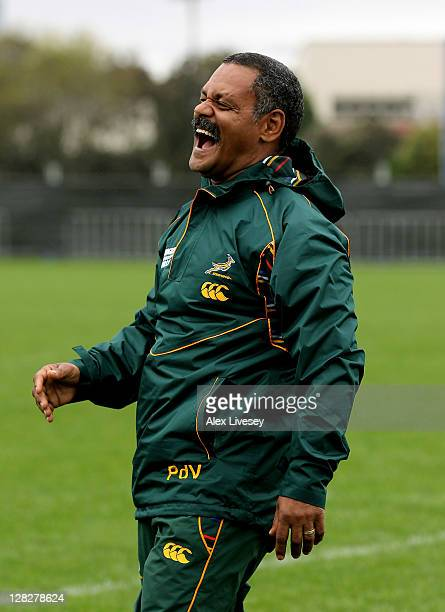 Springbok head coach Pieter de Villiers laughs during a South Africa IRB Rugby World Cup 2011 training session at Hutt Recreational Ground on October...