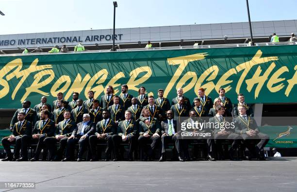 Springbok players pose for a team photo during the South African national men's rugby team official sendoff at OR Tambo International Airport on...