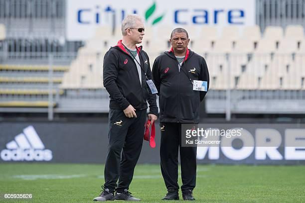 Springbok Team Manager Ian Schwartz and Springbok Head Coach Allister Coetzee look on during the South African Springboks captain's run at AMI...