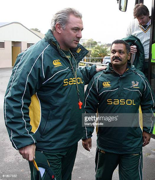 Springboks assistant coach Gary Gold and Springboks coach Peter de Villiers arrive for a Springbok training session at Porirua Park on July 03 2008...