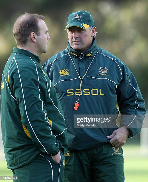 Springboks assistant coach Gary Gold talks with Springboks team manager Andy Marinos during a South African Springboks training session at Porirua...