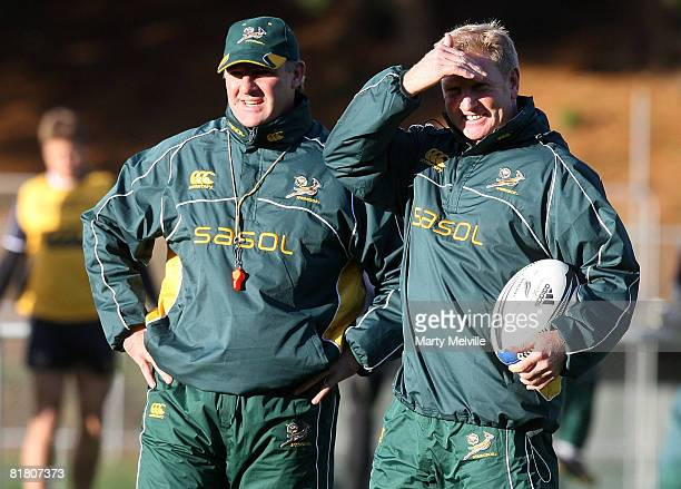 Springboks assistant coaches Gary Gold and Dick Muir look on during a South African Springboks training session at Porirua Park on July 03 2008 in...