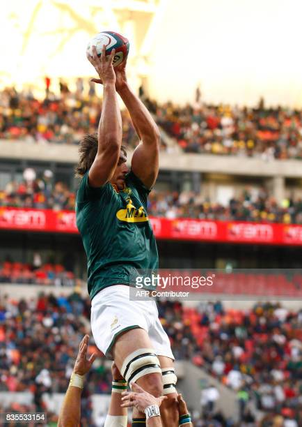 Springboks captain and lock forward Eben Etzebeth catches the ball in a line out during the International Rugby Test match between Argentina and...