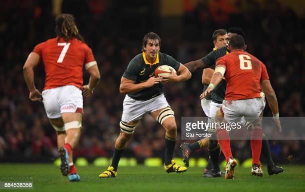 Springboks captain Eben Etzebeth on the charge during the International between Wales and South Africa at at Principality Stadium on December 2 2017...