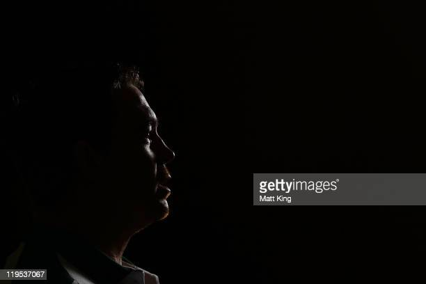 Springboks captain John Smit speaks to the media during a South African Springboks media session at the Intercontinental Hotel on July 22 2011 in...