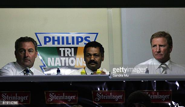 Springboks coaches Gary Gold Peter de Villiers and Dick Muir watch the game during the 2008 Tri Nations series match between the New Zealand All...