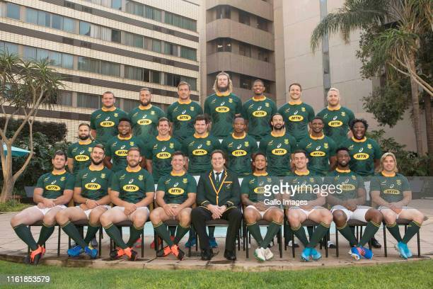Springboks during the South African national men's rugby team photograph and captains press conference at Southern Sun Pretoria on August 16 2019 in...