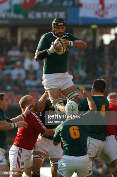 Springboks forward Victor Matfield wins a lineout ball during the first test match between South African Springboks and the British and Irish Lions...