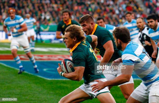 Springboks fullback Andries Coetzee runs with the ball during the International Rugby Test match between Argentina and South Africa at The Nelson...